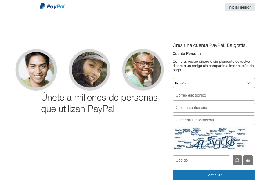 Como crear una cuenta PayPal: cuenta personal
